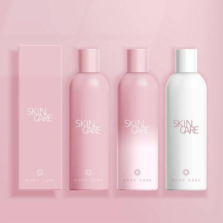 Vektor-Hautpflege / Kosmetik / Gesundheitswesen Boston-Flasche in rosa Hintergrund