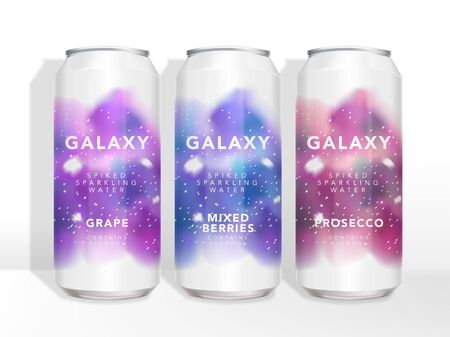 Starry Universe Galaxy Watercolor Print of Tin Can Beer, Beverage, Juice, Tea, Coffee, Alcohol Drinks Packaging