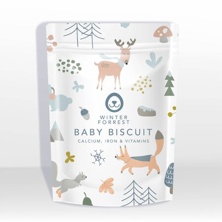 Vector White Pouch or Sachet Packaging Mockup with Animals Pattern Printed