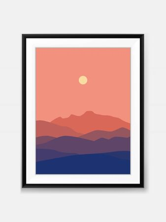 Vector Sunset Mountain View Landscape Minimal Painting on Wall with Black Frame