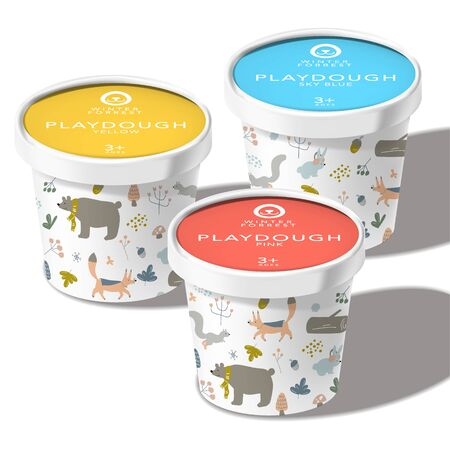 Vector Play Dough, Ice Cream, Snack or Toys Recyclable Paper Cup or Jar Package, Winter Forrest Animals Theme Printed