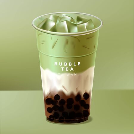 Vector Iced Taiwan or Japan Bubble Tea, Milk Tea or Matcha Green Tea