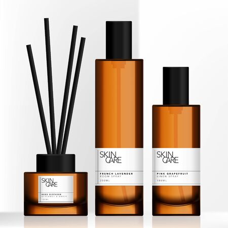 Vector Tinted Brown Glass or Plastic Tall Spray Bottle and Charcoal Reed Aromatic Home Diffuser Set Illusztráció