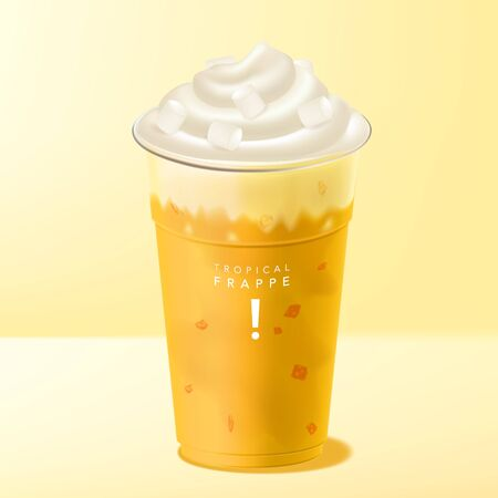 Vector Mango Frappe or Smoothie Beverage with ice cream & marshmallow topping Çizim