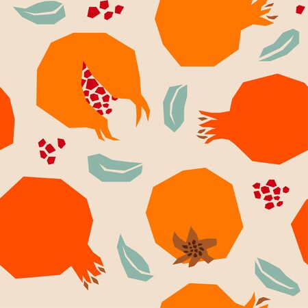 Vector Retro Style Collage Pomegranate Pattern with Beige Background