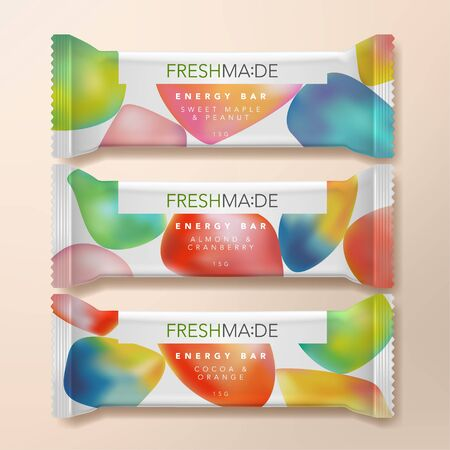 Vector Dried Fruit or Oatmeal Protein Energy Bar Packet Packaging Illustration with Gradient Abstract Pattern Printed. Иллюстрация