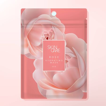 Vector Facial Sheet Mask or Clay Mask Foul Bag or Sachet Bag Packaging. Rose Pattern Printed on Coral Background.