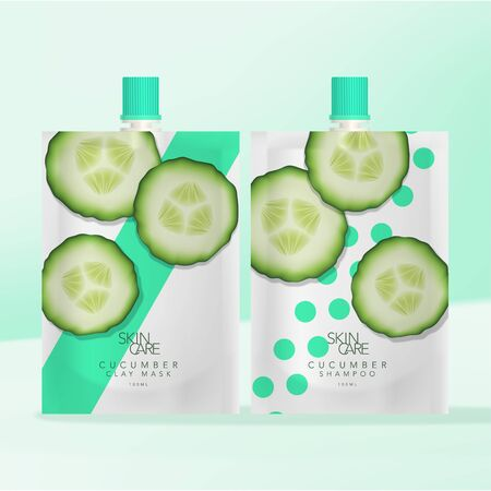 Vector Beverage, Skincare Clay Mask or Body Care Shampoo or Body Wash Screw Cap Packet Flexible Packaging. Cucumber Pattern Printed.