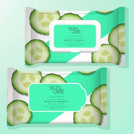 Vector Antibacterial Alcohol Wet Tissue or Beauty Make up Removal Wipe Resealable Label or Plastic Lid Packaging. Cucumber Pattern Printed. Vector Illustration