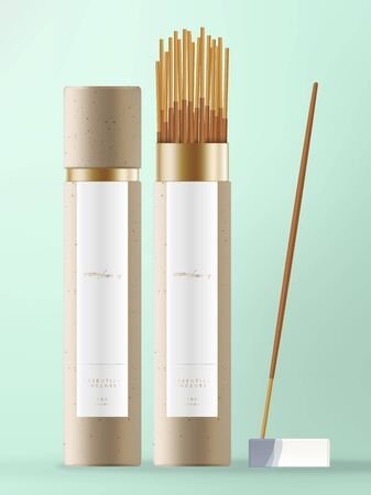 Vector Incense Stick with Kraft Paper Cone Packaging with White & Blue Ceramic Dish. Vettoriali