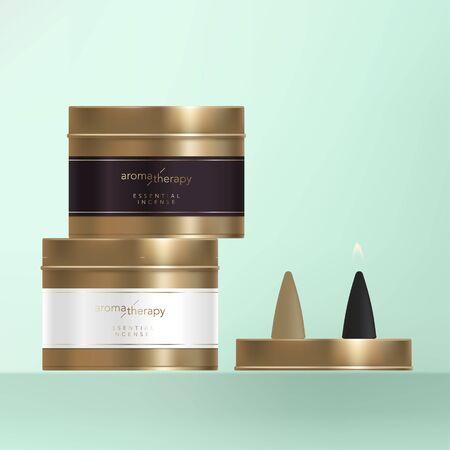 Cône d'encens vectoriel avec boîte de conserve de finition en métal bronze, étiquette enveloppante avec feuille d'or. Vecteurs