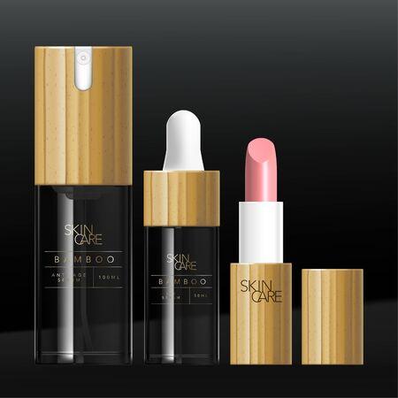Vector Beauty Bamboo or Wood Packaging Set with Serum Pump Bottle, Dropper Bottle & Lipstick Tube. Glossy Transparent Tinted Black Glass or Plastic. Vektoros illusztráció