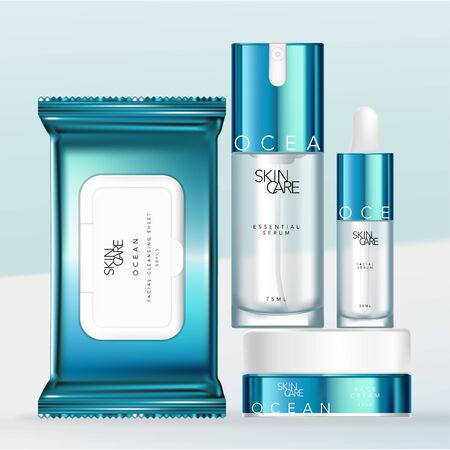 Vector Metallic Blue & White Design Beauty, Medical Skincare or Toiletries Packaging Set with Pipette or Dropper Bottle, Tissue or Cleansing Sheet Packet, Pump Bottle & Jar.