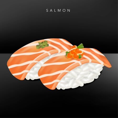 Vector Japanese Fine Dining or Sushi Bar Restaurant Realistic Salmon Sushi Illustration with Salmon Roe for Menu or Advertising.
