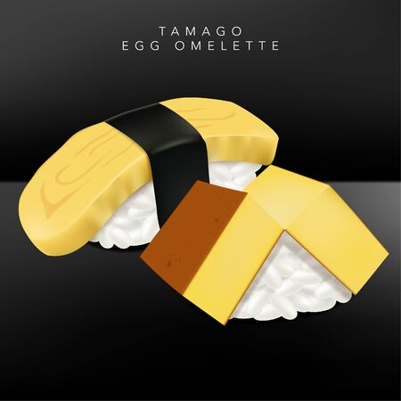 Vector Japanese Fine Dining or Sushi Bar Restaurant Realistic Tamago or Egg Omelette Sushi Illustration with Seaweed for Menu or Advertising.