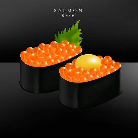 Vector Japanese Fine Dining or Sushi Bar Restaurant Realistic Salmon Roe Sushi Illustration with Quail Egg Yolk or Basil Leaf for Menu or Advertising.