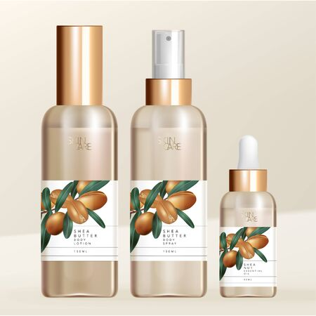 Vector Shea Butter Body Lotion, Spray & Essential Oil with Screw Cap, Spray & Pipette Bottle Packaging. Minimal Shea Butter Nuts Illustration Print.