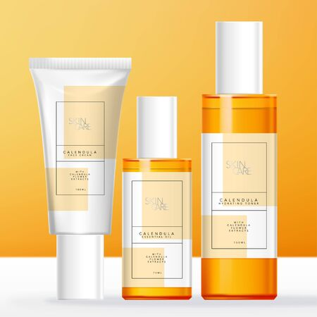 Vector Calendula Theme Skin Care, Beauty or Toiletries Packaging with Transparent Tinted Orange Bottle & White Tube.