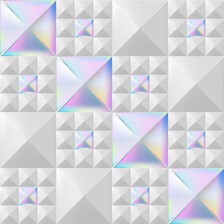 Trendy Seamless Rivet Pattern, White & Holographic