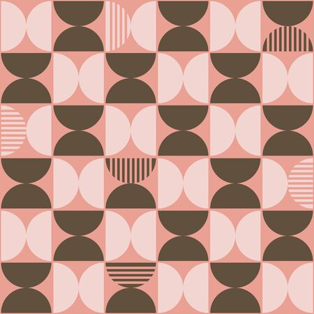 Vector Pastel Pink & Brown Semi Circles Seamless Pattern with Stripes Stock fotó - 149562187