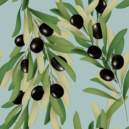 Vector 3D Illustration Black Olive with Leaves Seamless Pattern