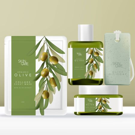 Vector Olive Oil Beauty Packaging Set with Face Mask Pouch, Packet or Sachet, Tinted Green Glass Serum Bottle & Jar, Soap on Rope. Olive illustration Printed. Illusztráció