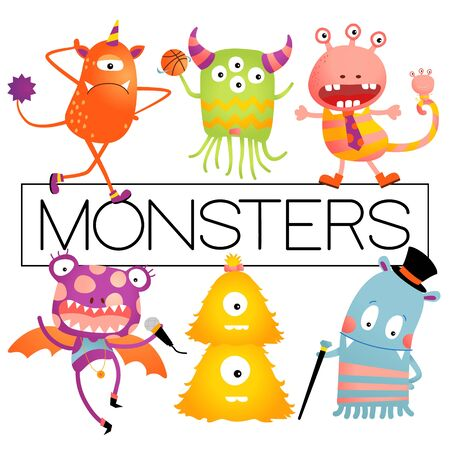 Vector Baby or Kids Design Elements, Colorful Happy Monster Set.