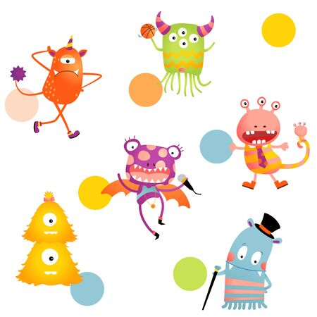 Vector Colorful Happy Monster Party Seamless Pattern Illustration