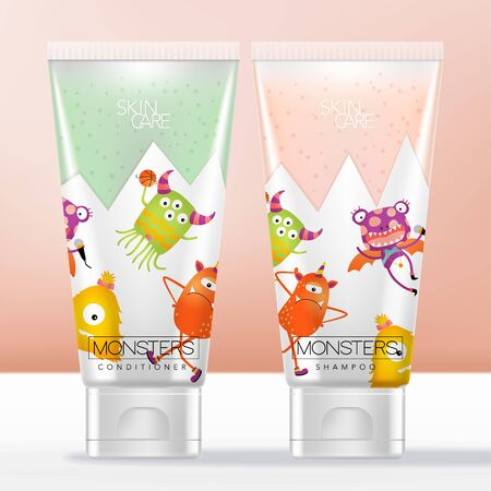 Vector Kid or Child Shampoo & Conditioner Toiletries Semi Transparent Tube with Cartoon Monsters Pattern Printed.