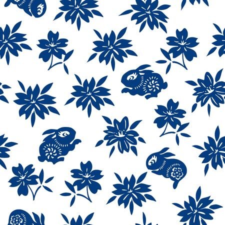 Chinese Classic Blue Traditional Paper Cutting or Porcelain Seamless Pattern. Rabbit & Floral Pattern.