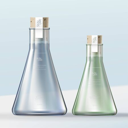 Vector Laboratory Glass Flask Bottle Bath Oil or Bubble Bath Container with Cork Stopper