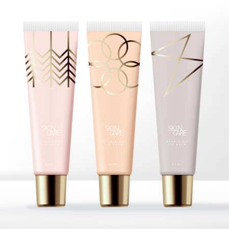 Vector Pastel Clear Lip Gloss Tube Packaging with Gold Screw Cap & Minimal Line Art Pattern