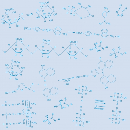 creatively: scalable  image in AI  format with different structural formulas of organic chemistry set creatively staged on a blue background, created not as a pattern, color change therefore unproblematic and not because they overlap, but as patterns together settabl Illustration