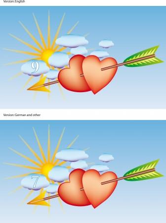 cloud nine: Two hearts pierced by Cupid Illustration