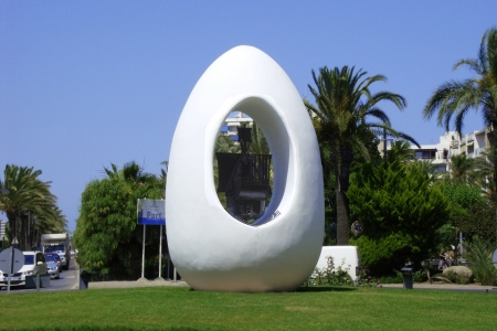 flagship: The egg of Columbus, with the flagship Santa Maria in the center in Sant Antoni in the southwest of the Balearic island of Ibiza in the Mediterranean