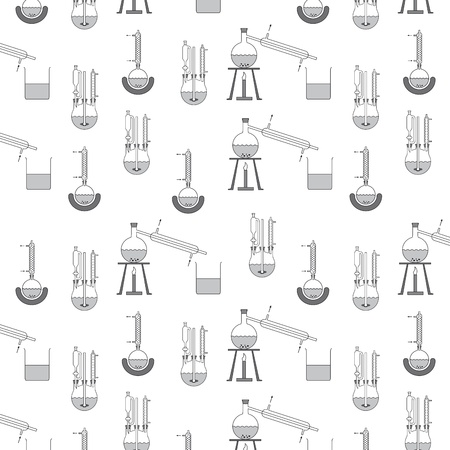 distillery: Pattern of various distillation apparatuses for the chemical laboratory technology, creatively set the scene, any continuable, free scalable vector graphics in the AI     EPS format