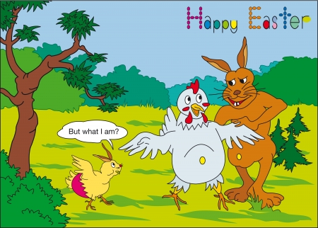 passover and easter chick: Easter with humor and in the balloon - But what I am - or your text Illustration