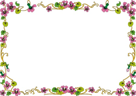 violet red: historical frame in color with floral ornaments in DIN format, free scalable  image