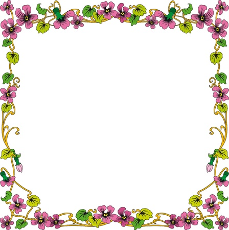 floral ornaments: historical frame in color with floral ornaments in square format, free scalable image  Illustration