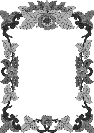 historical frame in gray with floral ornaments in DIN format, free scalable  image  Stock Vector - 17225459