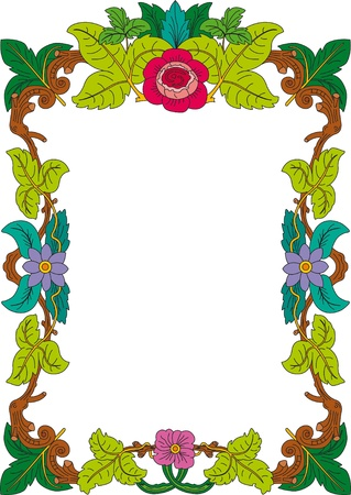 din: historical frame in color with floral ornaments in DIN format, free scalable image Illustration
