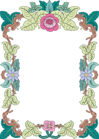 historical frame in pastel color with floral ornaments in DIN format, free scalable image Stock Vector - 17225462