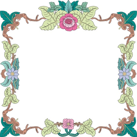 pastel colored: historical frame in pastel color with floral ornaments in square format, free scalable image  Illustration