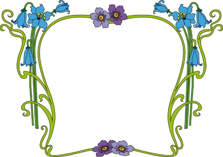 din: historical frame in color with floral ornaments, free scalable  image  Illustration