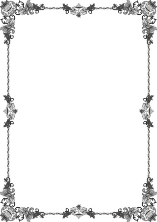 din: historical frame in gray with floral ornaments in DIN format, free scalable  image  Illustration