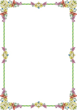 din: historical frame in pastel color with floral ornaments in DIN format, free scalable image