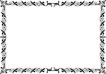 din: historical frame in black with ornaments in DIN format, free scalable  image