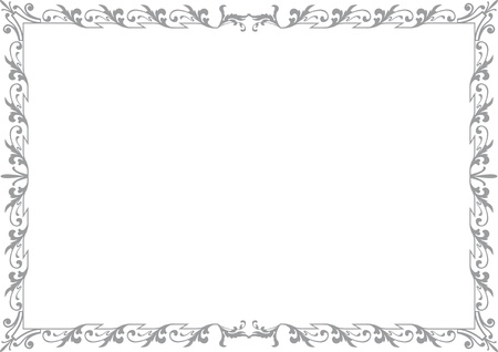 din: historical frame in gray with ornaments in DIN format, free scalable  image