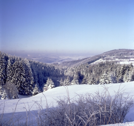Panoramic view of a snowy winter landscape in the low mountain 2400 dpi scan from 6x6 slide (not interpolated magnification) photo