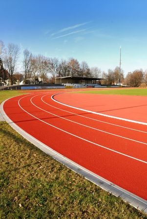 Running track in a sport stadium.
